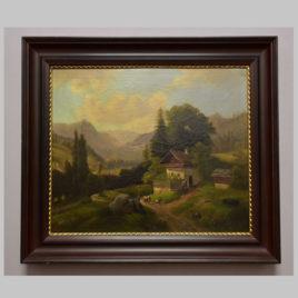 Unbekannte/r Künstler/in, Landschaft mit Figurenstaffage und Bergkulisse, 19. Jh.
