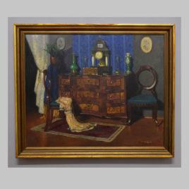 Romek Àrpàd, Elegantes Interieur mit Kommode und Portaluhr, 20. Jh.