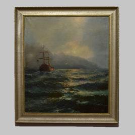Unbekannte/r Künstler/in, Meerlandschaft mit Segelschiff, 19. Jh.