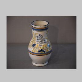"""Keramikkrug handbemalt, """"Bin ich gefüllt mit Wein will jeder gern mein Nächster sein"""""""