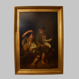 Unbekannte/r Künstler/in, Altmeisterkopie: Trauben- und Melonenesser nach Bartolomé Esteban Murillo, 19. Jhd.