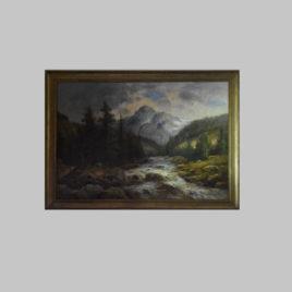 Unbekannte/r Künstler/in, Gebirgsbach mit Bergkulisse, 19. Jhd.
